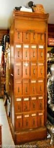 1890 Globe Solid Oak Vertical Document File Cabinet W Tambour Door Xlnt