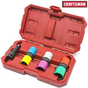 New Craftsman 4pc Flip Impact Socket Set Wheel Lug Hub Nut Lugnut Remover Case
