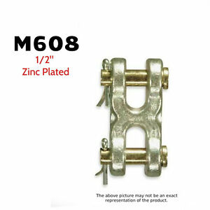 Cm Big Orange M608 Double Clevis mid link 1 2 Zinc Plated 11 300 Lb 2 Pack
