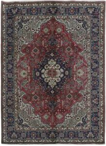 Persian Hand Knotted 7x9 Geometric Pattern Tabriz Rust Red Wool Area Rug