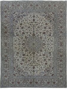 Fine Hand Knotted Ivory 10x13 Persian Kashan Signed Wool Rug