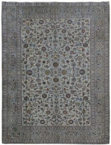 Persian Rug Hand Knotted 11x14 Kashan Signed Living Room Ivory Rug