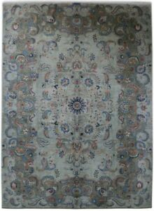 Genuine Hand Knotted Gray 10x14 Persian Kashan Signed Rug