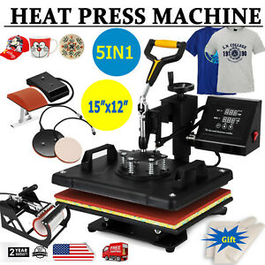 5in1 Digital Transfer Heat Press Machine Sublimation T shirt Diy 1200w 15 x12