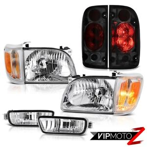 For 01 04 Toyota Tacoma 4wd Smokey Tail Lights Chrome Headlamps Bumper Oe Style