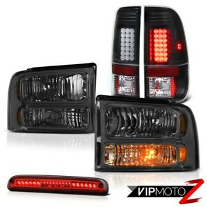 2005 2007 Ford F350 Tint Headlight Tail Lights Assembly Led Wine Red Third Brake