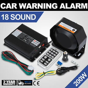 Can 200w 12v 18 Sound Loud Car Warning Alarm Police Fire Siren Pa Mic System Top
