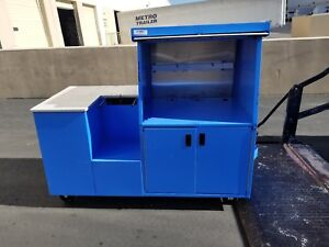 Pan oston Blue Mobile Kiosk Register Stand Cart Pos Sales Counter Stainless Door