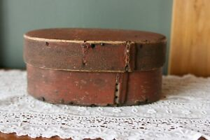 Antique Folk Art Norwegian Bentwood Red Painted Box Signed