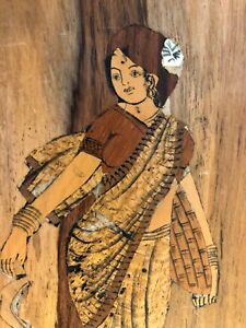 Original Vintage Wood Inlay Marquetry Plaque Beautiful Woman Traditional