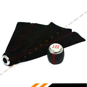 M12 X 1 25 Leather Chrome Shift Knob Red Stitching Suede Shift Boot For Toyota