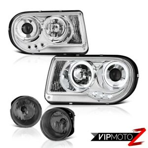 2005 2010 Chrysler 300c 6 1l Led Halo Ring Projector Headlights Tinted Fog Lamps