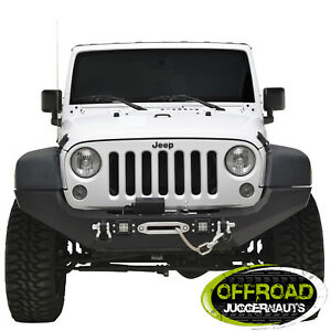 07 18 Jeep Wrangler Jk Full Width Led Front Bumper With Winch Plate