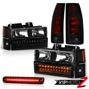 Silverado 94 98 Black Led Bumper Headlight Smoke Tail Lights High Stop Light Red