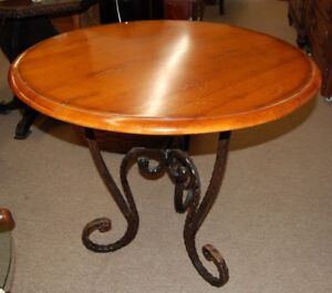 Vintage Wood Round Italian Accent Table Wrought Iron Decorative Legs From Estate