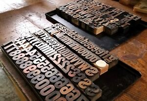 Vintage Antique Letterpress Wood Type 96 Pt 173 Pc Approx 1 1 2 In