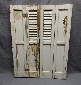 Antique Bi Fold Window Wood Louvered Paneled Shutters 33x13 Interior Vtg 512 18p