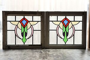 Pair Of Antique Stained Glass Windows Six Color Stunning Design 3091