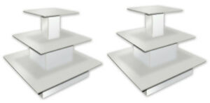 Rolling 3 tier Square Table Designer Store Boutique Clothing Display White New