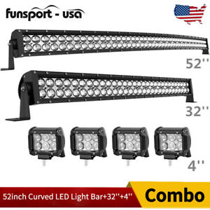 52inch Led Light Bar Curved 32in Combo 4 Pods Offroad Suv Tractor Atv Driving