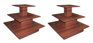 3 Tier Table Square Designer Store Boutique Clothing Display Cherry Lot Of 2 New