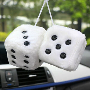 Hang Fuzzy Furry Vintage Pair Car White Hanging Mirror 2 55 Charm Dice A Pair