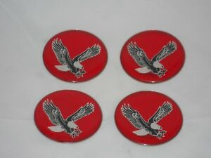 Set Of 4 Red Eagle Bird Wheel Rim Center Cap Round Decal 44mm Sticker Logo 1 75