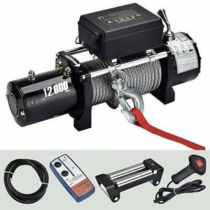12000lbs 12v Electric Winch Steel Rope Atv Utv Towing Truck Trailer Off Road