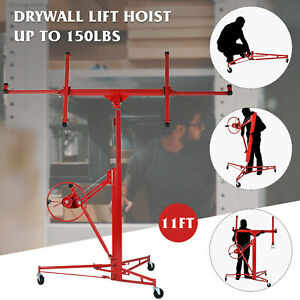 11 Drywall Lift Rolling Panel Hoist Jack Lifter Caster Wheels Lockable Tool Red