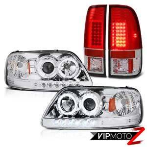 Ford F150 1999 2000 2001 Clear Halo Angel Eye Headlight Brightest Led Tail Light