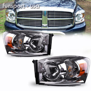 For 2006 2008 Dodge Ram Pickup Headlights Chrome Clear Headlamps Assembly Pair