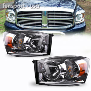 For 2007 2008 Dodge Ram Pickup Headlights Chrome Clear Headlamps Assembly Pair