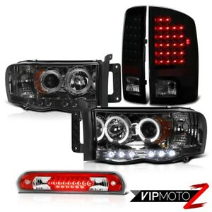 Halo Smoke Tinted Headlights Led Tail Lights Lamps Roof Brake Red 02 05 Ram Ws