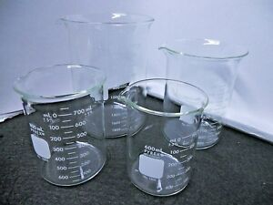 Lot Of 5 Pyrex Glass 800ml Griffin Low Form Beaker 1000 Dual Metric Scale