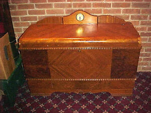 Antique Cedar Chest With Mounted Clock Made By Lane Color Brown Needs Work