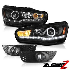08 12 Mitsubishi Lancer Raven Black Drl Led Projector Headlights Crystal Foglamp
