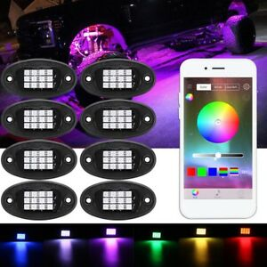8pcs Offroad Rock Lights Wireless Bluetooth Truck Jeep Universal Rgb Multi color