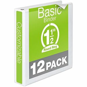 Wilson Jones 1 1 2 Inch 3 Ring Binder Basic Round View White 12 Pack