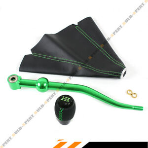 For 88 00 Honda Civic Green Dual Bend Short Shifter Shift Knob Leather Boot
