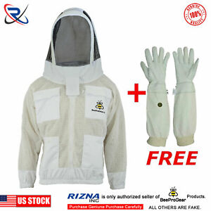 White Beekeeping Beekeeper 3 Layer Jacket Bee Ventilated Astronaut Veil L