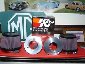 Mgb 2 Alum Velocity Stacks Pair K n Conical Air Filters Fits Su Hs6 Carbs