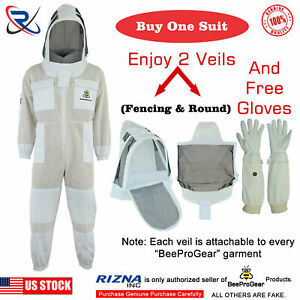 Professional Beekeeping 3 Layer Full Suit Ventilated Jacket Astronaut Veil l