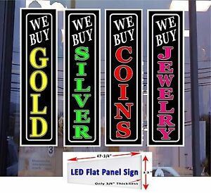 4 Led Signs We Buy Gold Silver Coins Jewelry Window Signs 48x12 Neon Alternative