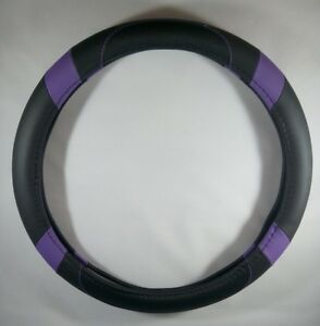 Black Purple Slip on Style Pu Steering Wheel Cover Perfect Fit Non slip Comfy