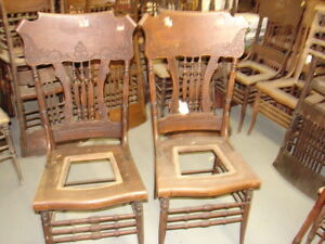 58 2 Antique Pressed Back Chairs W Reeded Spindles Fancy For Restoration