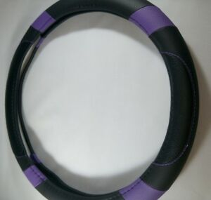 Non Slip Water Stain Resist Pu Steering Wheel Cover Good Fit black Purple