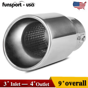 Usable Fit 2 3 Inlet 4 Outlet 9 Long Stainless Steel Bolt On Exhaust Tip