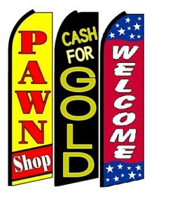 Pawn Shop Cash For Gold Welcome King Size Swooper Flag Sign Pack Of 3