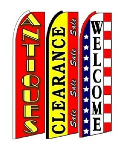 Antiques Clearance Sale Welcome King Size Swooper Flag Sign Pack Of 3