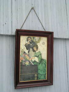 Vintage Mahogany Wood Picture Frame With Chain Hanger Original Glass And Print